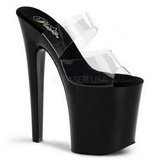 Black Transparent 20 cm XTREME-802 Plateau Women Mules Shoes