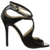 Black Varnish 13 cm AMUSE-15 High Heeled Evening Sandals