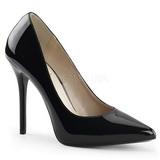 Black Varnished 13 cm AMUSE-20 pointed toe stiletto pumps