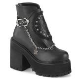 Black Vegan 12 cm ASSAULT-55 lolita ankle boots platform block heels