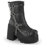 Black Vegan 12 cm ASSAULT-66 lolita ankle boots platform block heels