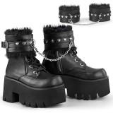 Black Vegan 9 cm ASHES-57 lolita ankle boots platform block heels