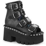 Black Vegan 9 cm ASHES-70 lolita ankle boots platform block heels