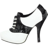 Black White 11,5 cm SADDLE-48 Oxford Womens Shoes with High Heels