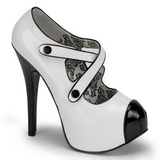 Black White 14,5 cm TEEZE-23 Womens Shoes with High Heels