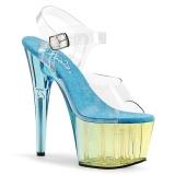 Blau 18 cm ADORE-708MCT Acryl plateau high heels