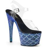 Blau 18 cm ADORE-708MSLG glitter plateau sandaletten
