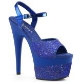 Blau 18 cm ADORE-709-2G glitter plateau sandaletten
