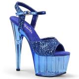 Blau 18 cm ADORE-710GT glitter plateau high heels