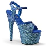 Blau 18 cm ADORE-710LG glitter plateau high heels