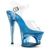 Blau 18 cm MOON-708GFT glitter plateau sandaletten