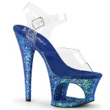 Blau 18 cm MOON-708LG glitter plateau high heels