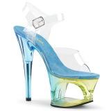 Blau 18 cm MOON-708MCT Acryl plateau high heels