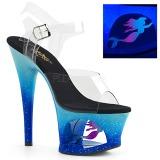 Blau 18 cm MOON-708MER Neon plateau high heels