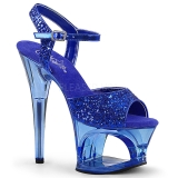 Blau 18 cm MOON-710GT glitter plateau high heels