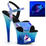 Blau 18 cm MOON-711MER Neon plateau high heels