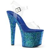 Blau 18 cm RADIANT-708LG glitter high heels schuhe
