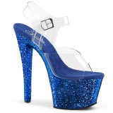 Blau 18 cm SKY-308LG glitter plateau high heels