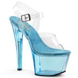 Blau 18 cm SKY-308T Acryl plateau high heels