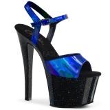Blau 18 cm SKY-309HG Hologramm plateau high heels