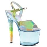 Blau 18 cm UNICORN-711T Acryl plateau high heels