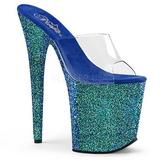 Blau 20 cm FLAMINGO-801LG glitter plateau pantoletten damen