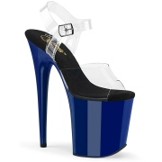 Blau 20 cm FLAMINGO-808 Plateau High Heels