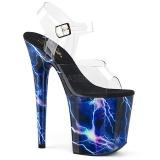 Blau 20 cm FLAMINGO-808STORM Hologramm plateau high heels