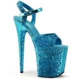 Blau 20 cm FLAMINGO-810LG glitter plateau high heels