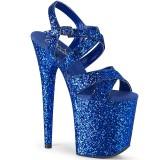 Blau 20 cm FLAMINGO-897LG glitter plateau high heels