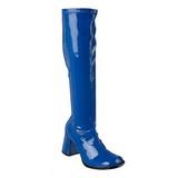 Blau 7,5 cm GOGO-300 lackstiefel mit blockabsatz - disco stiefel 70er jahre
