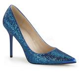 Blau Glitter 10 cm CLASSIQUE-20 Damen Pumps Stiletto Absatz