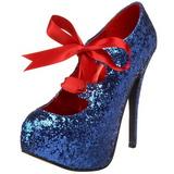 Blau Glitter 14,5 cm Burlesque TEEZE-10G Platform Pumps Schuhe