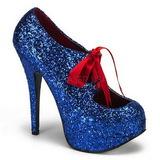 Blau Glitter 14,5 cm TEEZE-10G Platform Pumps Schuhe