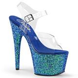 Blau Glitter 17 cm ADORE-708LG Plateau Sandaletten mit hohen Absätzen