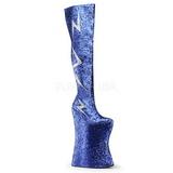 Blau Glitter 34 cm VIVACIOUS-3016 Overknee Stiefel für Drag Queen