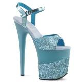 Blau Glitzern 20 cm Pleaser FLAMINGO-809-2G Plateau High Heels