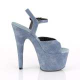 Blau Kunstleder 18 cm ADORE-709WR Sandaletten mit high heels