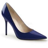 Blau Lack 10 cm CLASSIQUE-20 Damen Pumps Stiletto Absatz