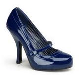 Blau Lack 12 cm retro vintage CUTIEPIE-02 mary jane pumps mit verstecktem plateau
