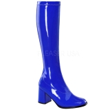 Blau Lack 8,5 cm GOGO-300 High Heels Damenstiefel für Männer