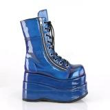 Blau Lackleder 11,5 cm BEAR-265 Demonia stiefeletten mit plateau