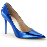 Blau Metallic 10 cm CLASSIQUE-20 Damen Pumps Stiletto Absatz