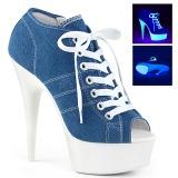 Blau Neon 15 cm DELIGHT-600SK-01 Leinenstoff high heels chucks
