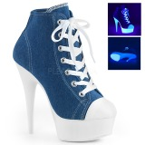 Blau Neon 15 cm DELIGHT-600SK-02 Leinenstoff high heels chucks