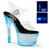 Blau Neon 18 cm Pleaser CRYSTALIZE-308PS Plateau High Heels