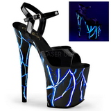 Blau Neon 20 cm Pleaser FLAMINGO-809NLB Plateau High Heels