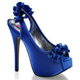 Blau Satin 14,5 cm Burlesque TEEZE-56 Plateau Sandaletten mit hohen Absätzen