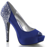 Blau Strass 13 cm LOLITA-08 Hohe Pumps Abend Schuhe mit Absatz