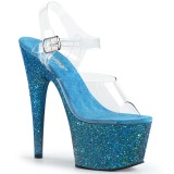 Blau glitter 18 cm Pleaser ADORE-708LG pole dance high heels schuhe